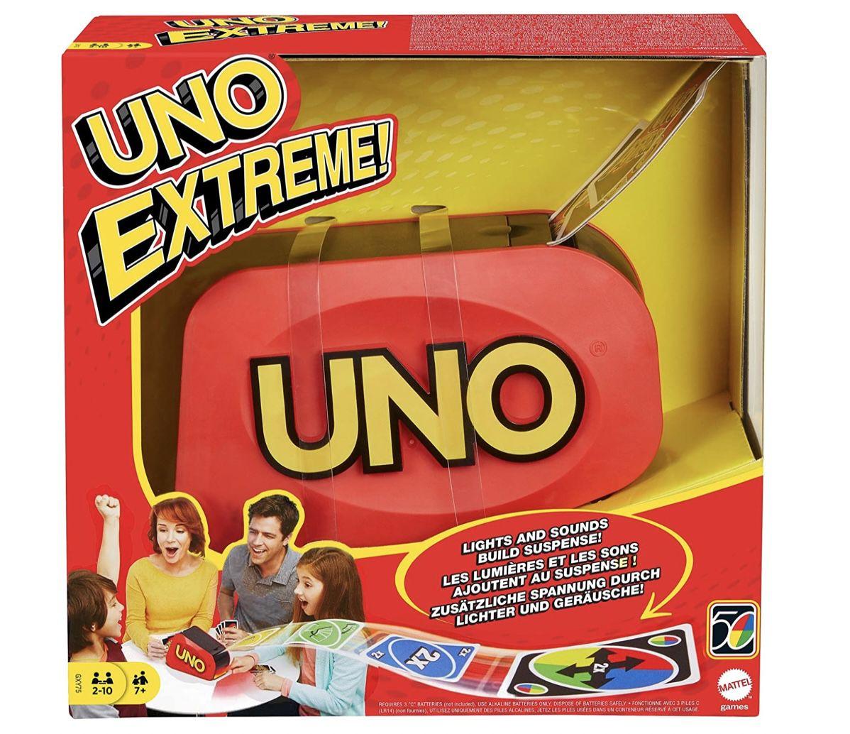 Mattel Games GXY75 – UNO Extreme Kartenspiel mit Zufallsschleuder für 2 bis 10 Spieler für 24€ (statt 34€) – Prime