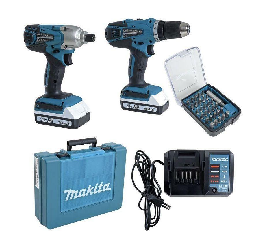 Makita DK18354X1 Akkuschrauber DF457DZ + Schlagschrauber TD127DZ inkl. 2x Akkus & Bit Set für 184,95€ (statt 270€)