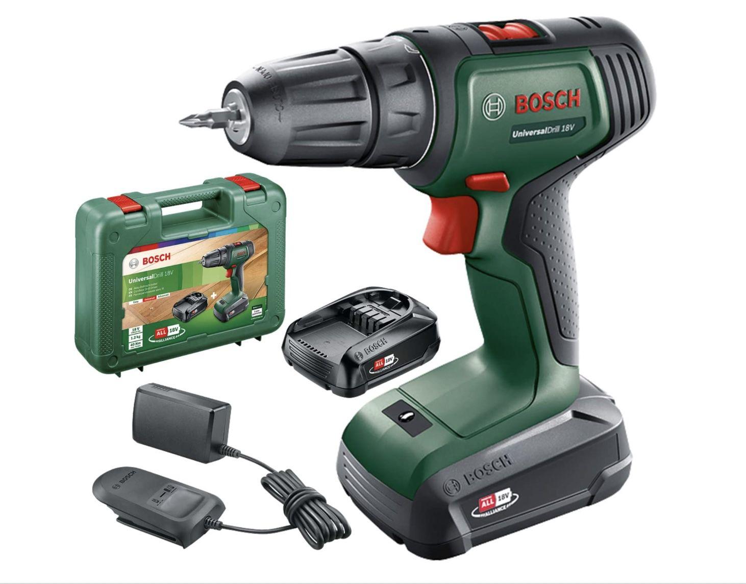 Bosch 06039D4002 Akkuschrauber UniversalDrill 18V inkl. 2 Akkus & Koffer für 94,19€ (statt 107€)