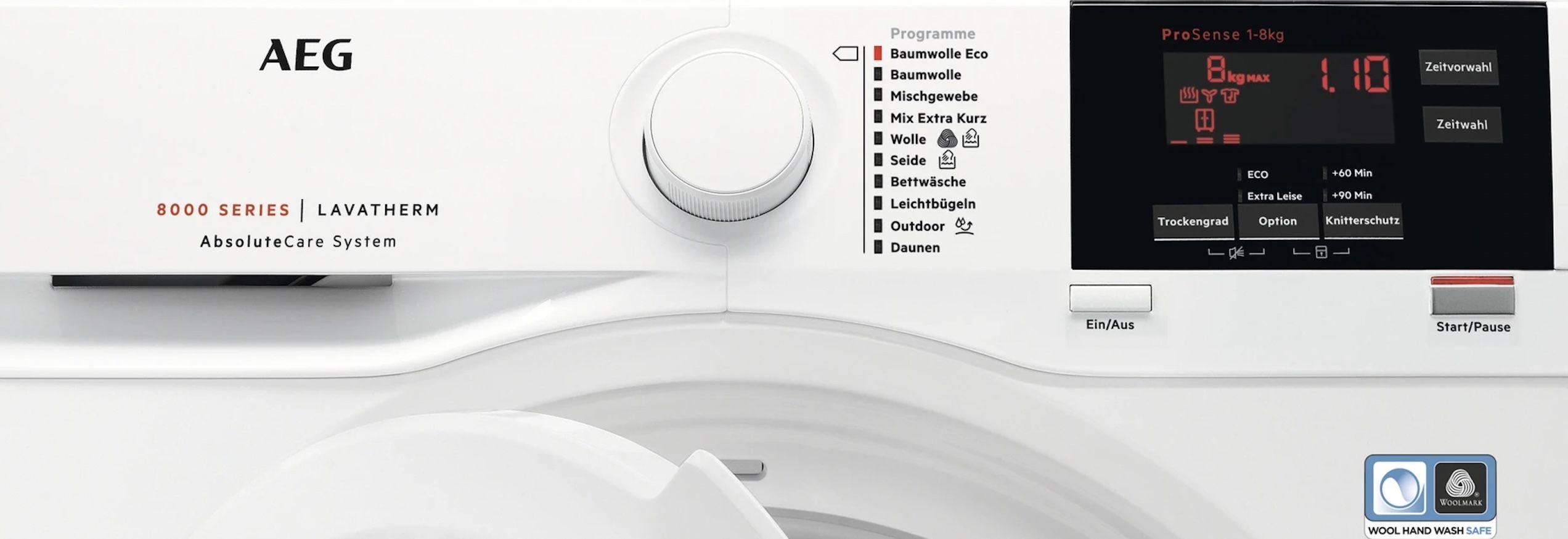 AEG T8DBA2 8kg Wärmepumpentrockner mit Mengenautomatik & Knitterschutz für 360,92€ (statt 489€)