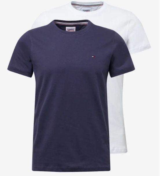 2er Pack Tommy Jeans Basic T Shirts in Weiß oder Navy/Weiß für je 33,91€ (statt 42€)