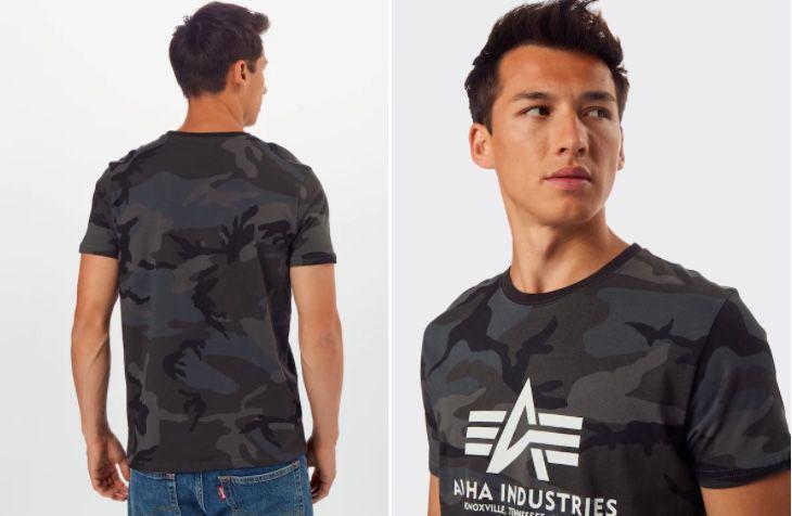 Alpha Industries T Shirt Basic Black Camo für 16,92€ (statt 24€)   S, M, L