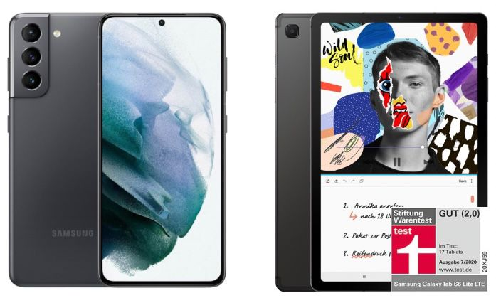 Samsung Galaxy S21 5G + Galaxy Tab S6 Lite WiFi für 149€+ Vodafone Allnet Flat mit 30GB LTE/5G für 37,99€ mtl.