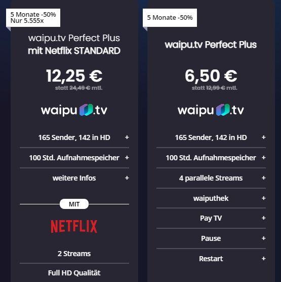 🔥 5 Monate waipu Perfect Plus inkl. Netflix Standard für 12,25€ mtl. (statt 24€)