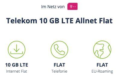 Letzte Chance! 🔥 Telekom Allnet Flat mit 10GB LTE für 9,99€ mtl.   VoLTE & WiFi Call möglich!
