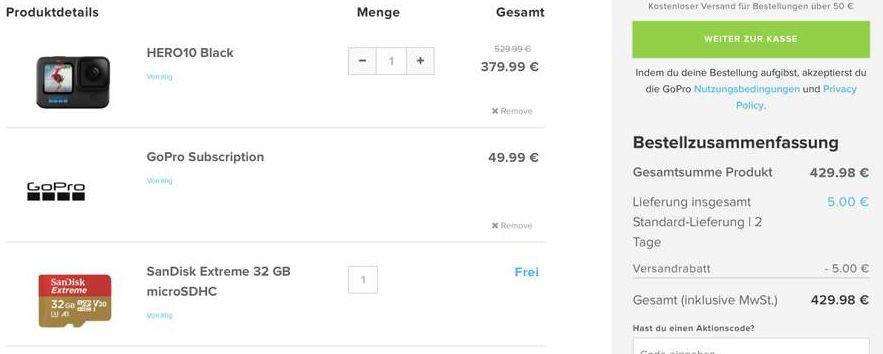 Schnell? GoPro HERO10 Black + Speicherkarte + GoPro Abo für 429,98€ (statt 529€)