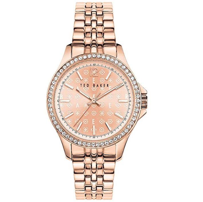 Ted Baker Nicolya Damen Armbanduhr mit rotgoldenem Zifferblatt für 123,45€ (statt 177€)
