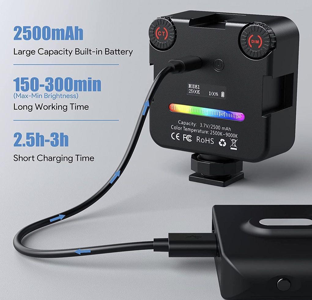 Mini Videolicht mit 2500mAh wiederaufladbarem Akku für 19,59€ (statt 28€)