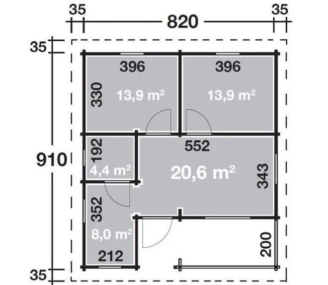 Wolff Finnhaus Ferienhaus Vogelsberg 92 B x T: 820 cm x 910 cm für 49.999€ (statt 57.000€)