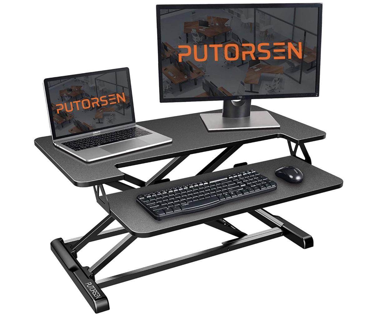 PUTORSEN Ergonomischer höhenverstellbarer Sitz-Steh-Arbeitsplatz für 49,93€ (statt 100€)