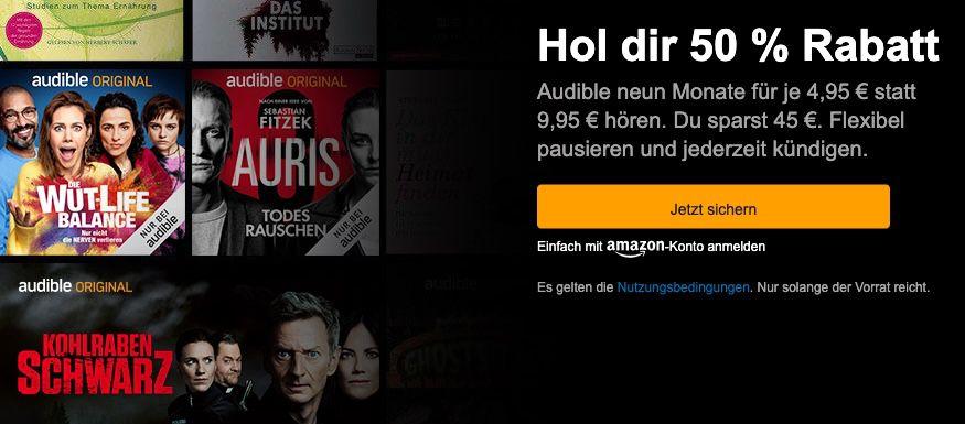 🔥 50% Rabatt: Audible 9 Monate mit 9 Hörbüchern nach Wahl nur 4,95€ mtl. (statt 10€)