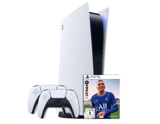Sony PlayStation 5 mit Laufwerk + 2. Controller + Fifa 22 für 1€ + o2 Allnet-Flat mit 20GB LTE/5G für 49,99€ mtl.