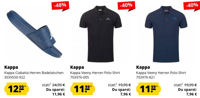 SportSpar Club 3 für 2 Aktion   z.B. 3x Kappa Poloshirt nur 24€ (statt 39€)