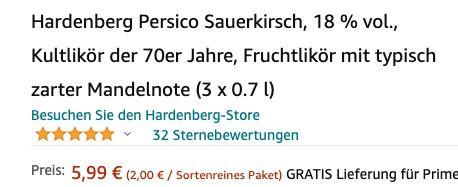 Fehler? 3 Flaschen Hardenberg Persico Sauerkirsch Fruchtlikör für 5,99€ (statt 20€)   Prime