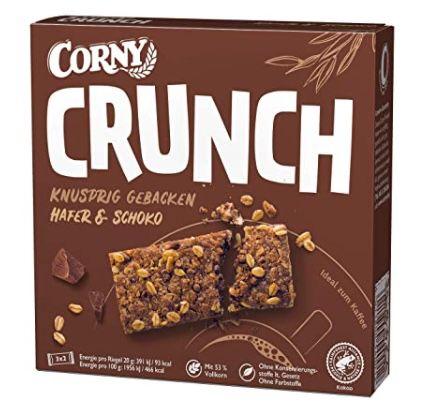 9x 6er Pack Corny Crunch Hafer & Schoko knackiger Müsliriegel für 8,36€ (statt 12€) – Prime Sparabo