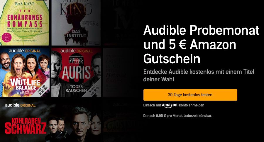 🔥🔥 audible 30 Tage kostenlos testen + 5€ Amazon Gutschein GRATIS