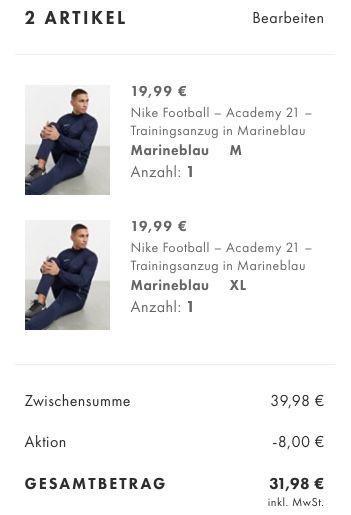 Nike Academy 21 Track Suit Trainingsanzug in Marineblau für 24,99€ (statt 38€) oder 2 Anzüge für 31,98€