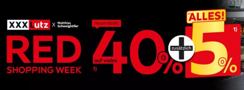 XXXLutz Red Shopping Week mit 40% Rabatt + 5% Extra Rabatt   z.B. Fishman Schlauchboot mit Motor für 303,85€(statt 370€)