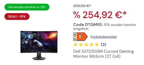 15% Rabatt auf Gaming Monitore von Dell & Alienware   z.B. Dell S2722DGM ab 253€ (statt 290€)