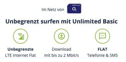 o2 Allnet Flat inkl. unlimited LTE Datenvolumen (max. 2 Mbit/s) für 11,99€ mtl.   sogar monatlich kündbar!