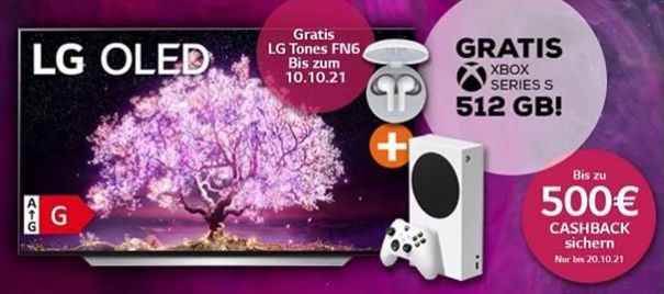 LG OLED Fernseher inkl. bis 500€ Cashback + GRATIS Xbox Series S + Kopfhörer