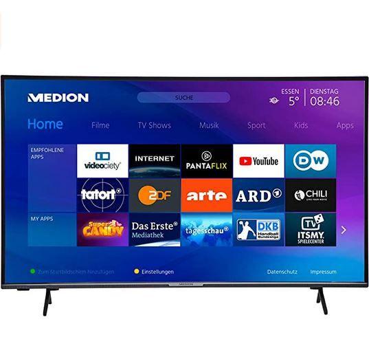 MEDION X15556 – 58Zoll UHD smart TV HDR für 399,94€ (statt 470€)