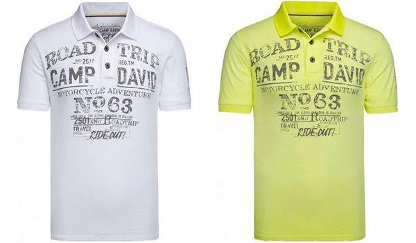 Camp David Poloshirt aus Flammgarn mit Used Prints in drei Farben für 36,95€ (statt 70€)