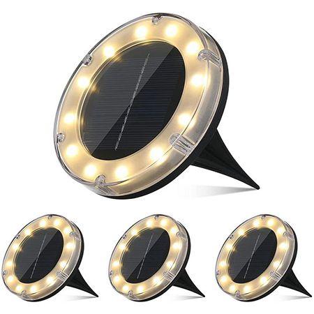 Tomshine – 4 Stück Boden-Solarleuchte mit 12 LED für 9,99€ (statt 38€)