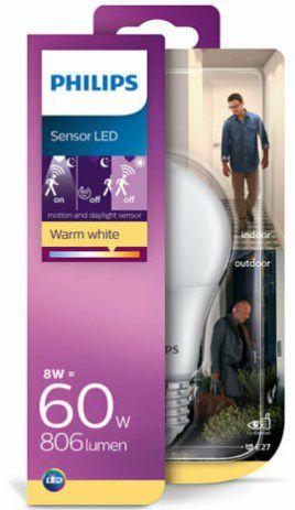 2x PHILIPS LED E27 8W (wie 60W Warmweiß) mit Bewegungsmelder für 9,98€ (statt 20€)