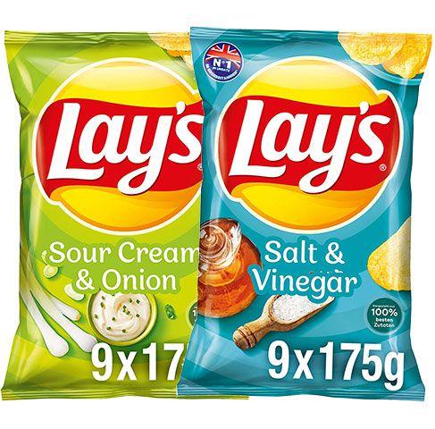 9x 175g Lay's Salt & Vinegar oder Sour Cream & Onion Kartoffelchips für je 8,09€ (statt 14€) – Sparabo