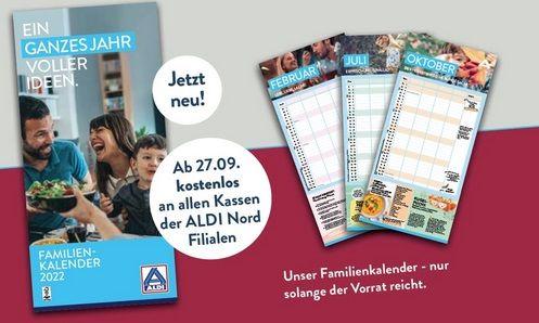 Gratis: Familienkalender 2022 bei Aldi Nord   ab jetzt in den Märkten verfügbar