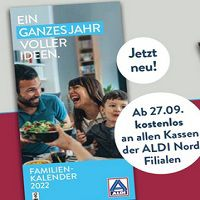Gratis: Familienkalender 2022 bei Aldi Nord – ab jetzt in den Märkten verfügbar