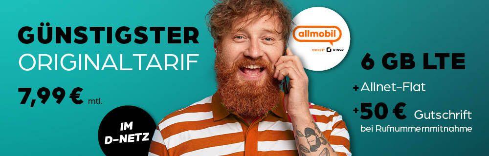 Vodafone Allnet-Flat 6GB LTE für 7,99€ mtl. + 50€ Rufnummern-Bonus