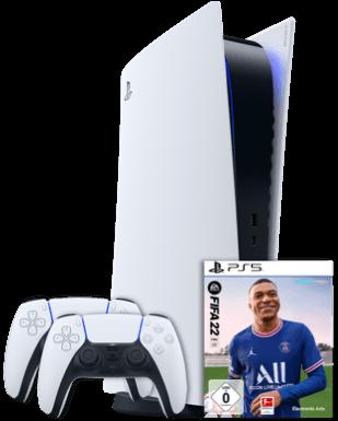 Sony PlayStation 5 mit Laufwerk + 2. Controller + Fifa 22 für 1€ + o2 Allnet Flat mit 20GB LTE/5G für 49,99€ mtl.