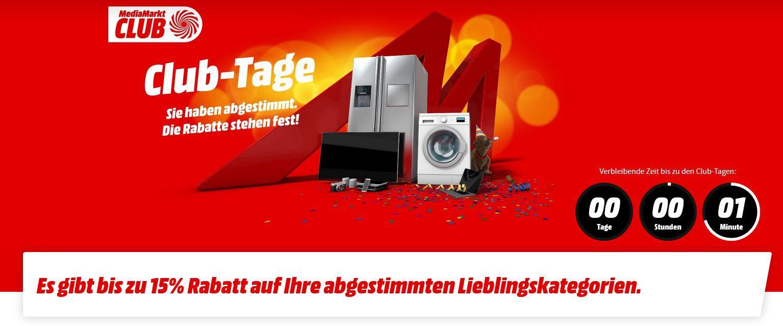 Media Markt Club Tage: bis 15% Rabatt auf Lieblingskategorien   noch bis 20Uhr