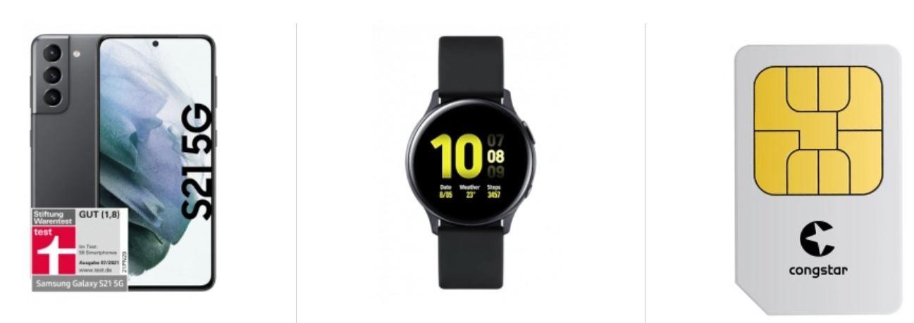 Samsung Galaxy S21 Plus 5GB 128GB + Samsung Watch Active2 für 389€ + Congstar Allnet Flat 12GB LTE für 22€ mtl.