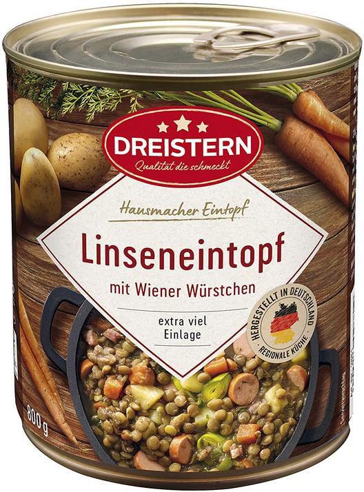 5x Dreistern   Linseneintopf mit Wiener Würstchen 800g für 9,34€ (statt 12€)   Sparabo