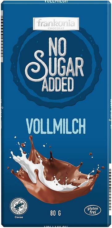 5x frankonia Vollmilch Schokolade, 80g Tafel ohne Zuckerzusatz für 5,96€ (statt 8€)