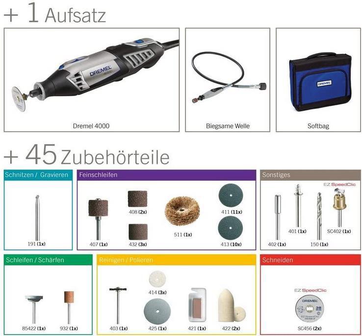 Dremel 4000 Multifunktionswerkzeug Set mit 45 Zubehörteilen für 64,99€ (statt 85€)