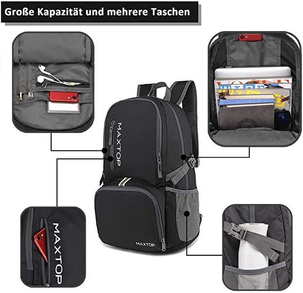 MAXTOP   Faltbarer und Leichter Rucksack mit 40L für 6,39€ (statt 16€)