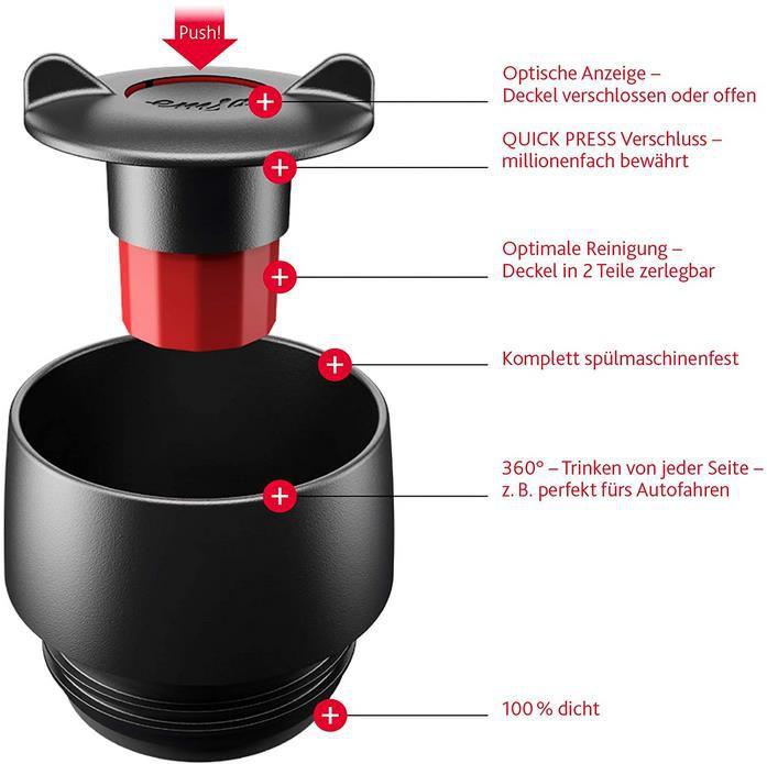 Emsa 515618 Travel Mug Classic Grande   Thermobecher in Schwarz für 11,99€ (statt 20€)