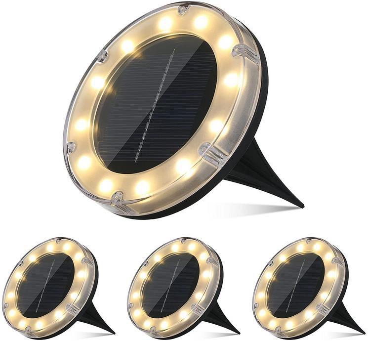 Tomshine   4 Stück Boden Solarleuchte mit 12 LED für 9,99€ (statt 38€)