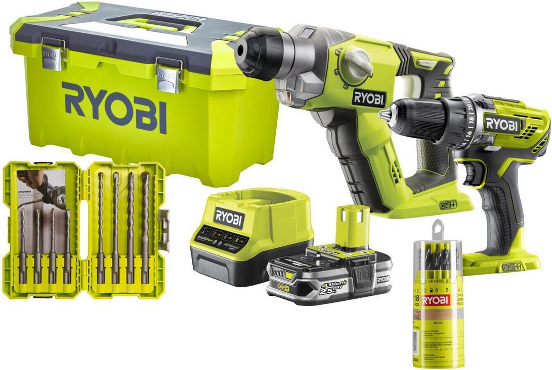Ryobi Akku Kombokit R18DDSDS 125T mit Kombihammer + Bohrschrauber für 189,99€ (statt 230€)