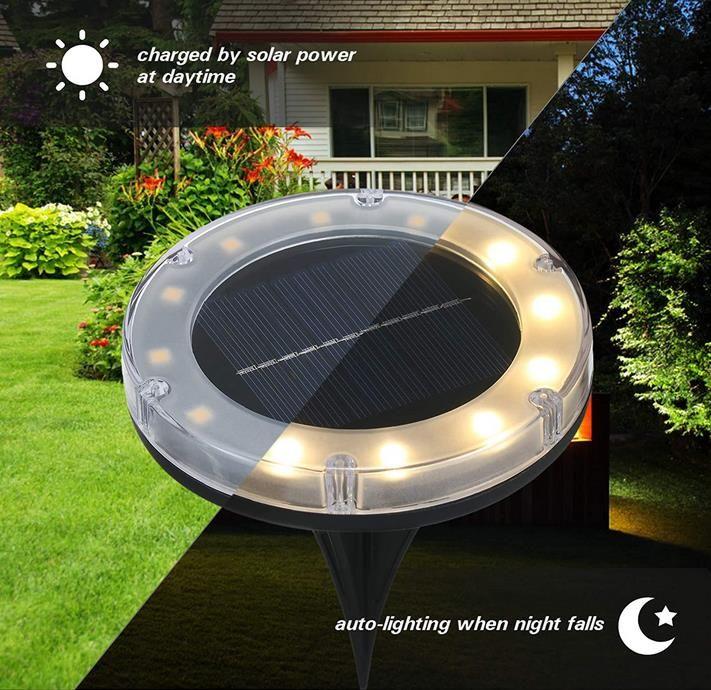 Tomshine   4 Stück Boden Solarleuchte mit 12 LED für 9,99€ (statt 26€)