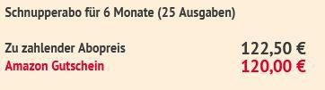 25 Ausgaben Euro am Sonntag für 122,50€ + Prämie: 120€ Amazon Gutschein