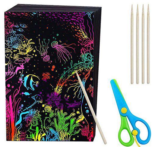 50 Kratzbilder inkl. 5 Stifte + Kinderschere für 4,99€   Prime