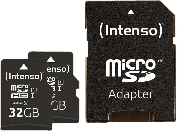 2x Intenso MicroSDHC Speicherkarte mit 32 GB inkl. Adapter für 7,98€ (statt 14€)   Abholung 4,99€