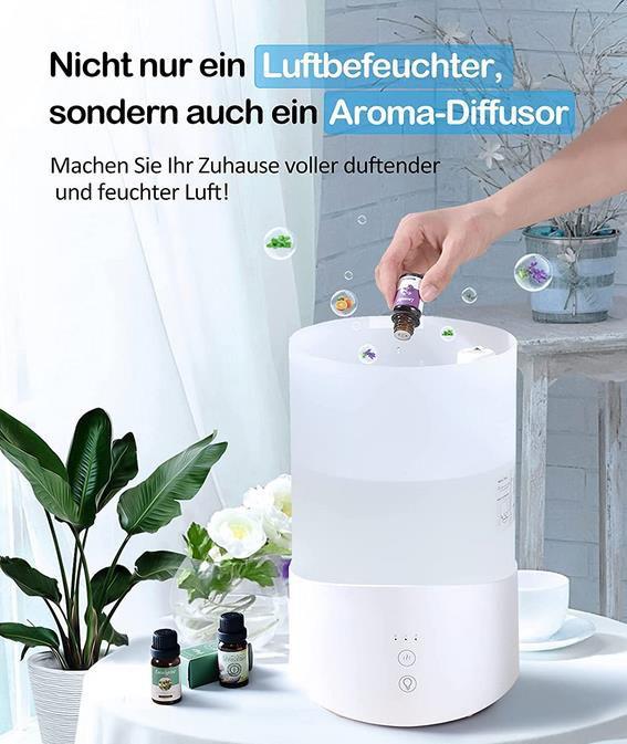 4L Ultraschall Luftbefeuchter   24 dB mit 7 Farben LED für 20€ (statt 50€)