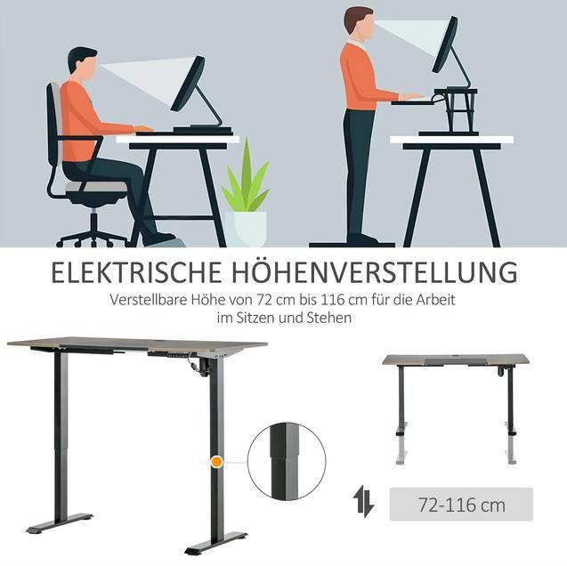 Vinsetto   elektrisch höhenverstellbarer PC Tisch mit LED Anzeige ab 214,99€ (statt 238€)