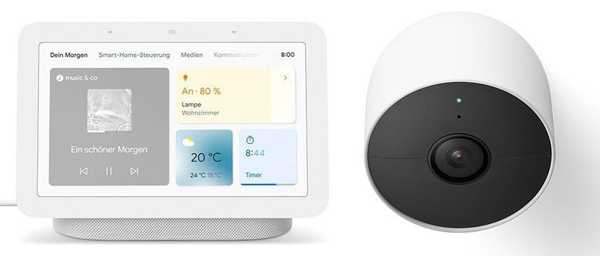 Google Nest Cam (Akku) + Nest Hub (2nd Gen) für 209€ (statt 276€) + 6Monate Spotify